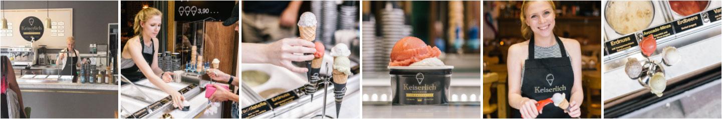 Steffi hat im Sommer 2017 in eine Eisvitrine als Pop up Konzept, investiert und hat Praktikum bei Keiserlich Eis in Köln gemacht.